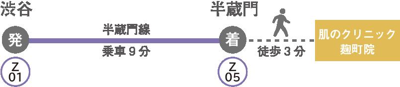 渋谷駅から肌のクリニック麹町院へのアクセス